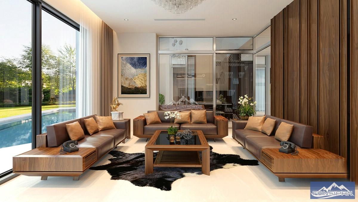 Bàn ghế sofa gỗ phòng khách BGF009