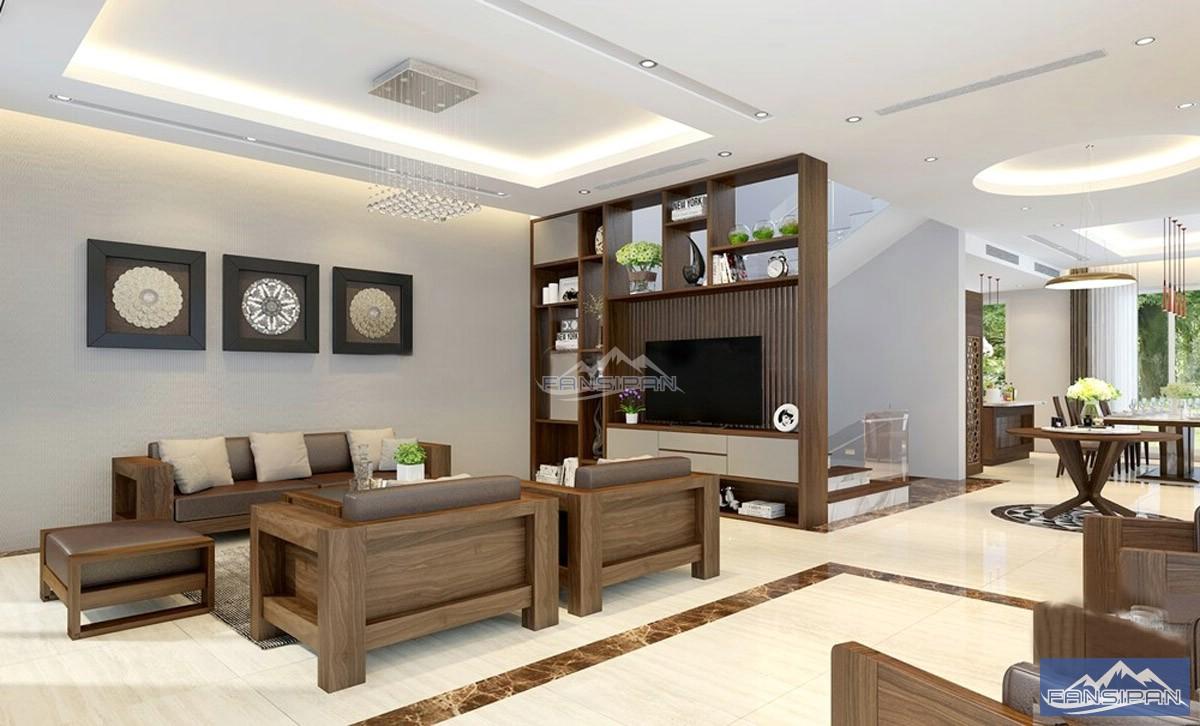 Bàn ghế sofa gỗ phòng khách BGF007