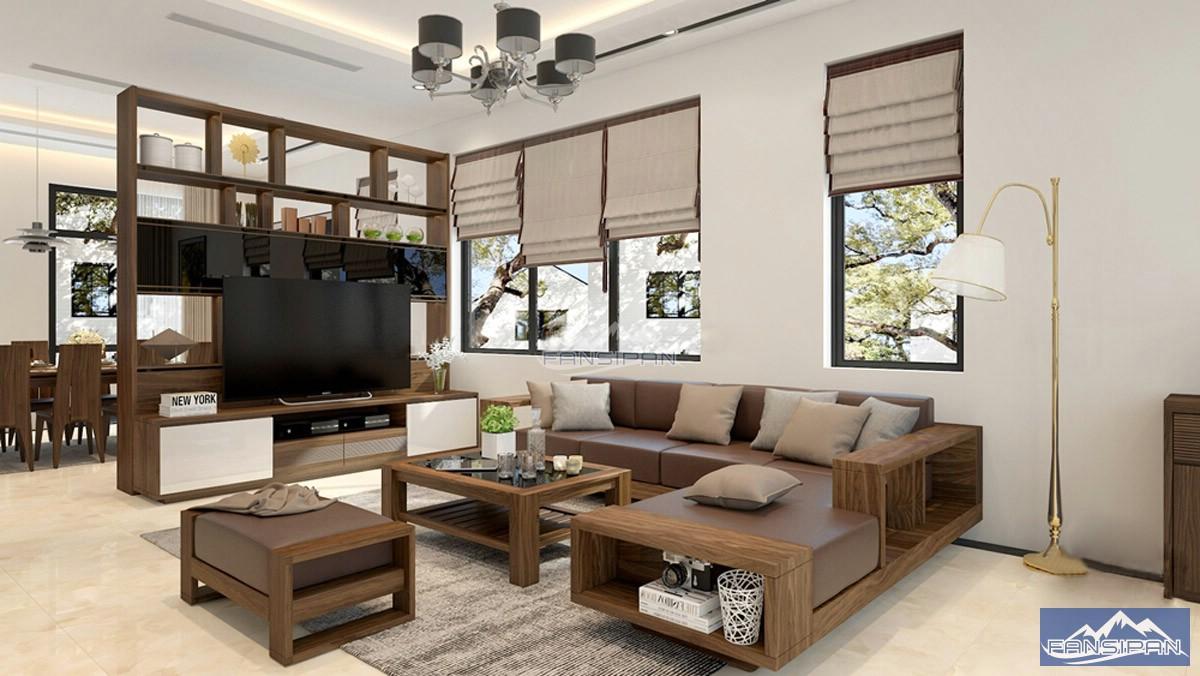 Bàn ghế sofa gỗ phòng khách BGF001