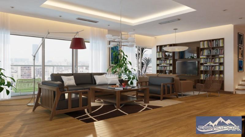 Bàn ghế sofa gỗ phòng khách BGF017
